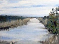 "Winter Marshland © Barbara J Hart. Oil painting on canvas, 11"" x 14"""