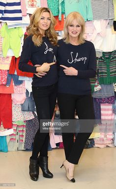Abbey Clancy and Joanna Lumley attend a photocall to launch the M&S 'Love, Mum' shwopping campaign in conjunction with Oxfam at Marks & Spencer Marble Arch on February 4, 2014 in London, England.