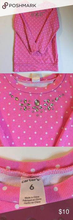 Girl's Carter long sleeve top A light sweatshirt (a little thicker than a t-shirt) pink polka dot top with rhinestones at the top of the shirt. 100% cotton Carter's Shirts & Tops