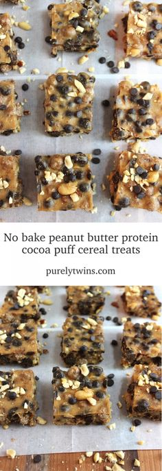 No bake chocolate chip peanut butter protein powder cocoa puffs cereal with no sugar marshmallows. Now this is a recipe you cannot turn down.