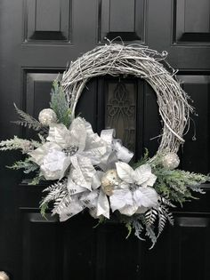 Best 12 Silver Christnas Wreath for Feknt Door, Metalic Holiday Wreath, New Years Wreath, Winter Wreath, Ch – SkillOfKing. Rose Gold Christmas Decorations, Winter Wonderland Decorations, Xmas Decorations, Christmas Wreaths For Front Door, Holiday Wreaths, Holiday Decor, Winter Wreaths, Holiday Pics, Christmas Reef