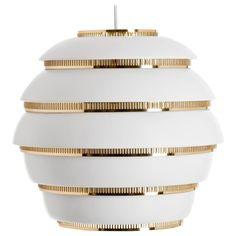 For Sale on - Alvar Aalto 'Beehive' pendant light for Artek in white and brass. Designed in 1953 and produced by its original manufacturer, Artek of Finland. Alvar Aalto, Chandelier Pendant Lights, Pendant Lamp, Selling Furniture, Modern Pendant Light, Diffused Light, Ceiling Lamp, Ceiling Canopy, White Ceiling