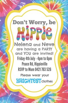 Hippie Party Invite Invitation - CUSTOM MADE - Digital File for you to print on Etsy, $15.00 AUD
