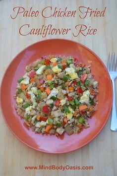 Paleo Chicken Fried Cauliflower Rice #paleo  #glutenfree  #grainfree