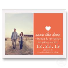#wedding Coral Heart Photo Save The Date Post Cards