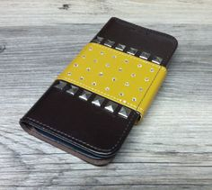 Black Faux Leather and Pyramid Studs Hardcase Wallet NWT