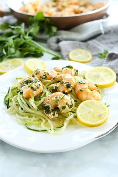 Best ever easy and healthy dinner idea!! Shrimp Scampi with Zucchini Noodles--this is a less than 30 minute dinner that everyone loves. So GOOD. great recipe