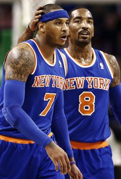 New York Knicks Basketball players Carmelo Anthony (#7) and J.R. Smith (#8)