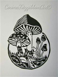 """Toadstool Garden"" This is an Adorable Lino Cut Print which was Designed, Hand Carved and Printed by myself and is now available on my Etsy shop! 