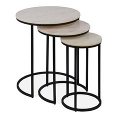 White Marble and Black Madison Nest of Tables | Luxury Side Tables