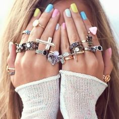How to Chic: MULTI RINGS AND PASTEL NAILS  | Check out http://www.nailsinspiration.com for more inspiration!