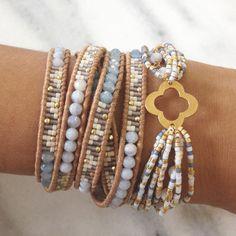 Blue Lace Agate Mix Multi Strand Motif Bracelet - Chan Luu