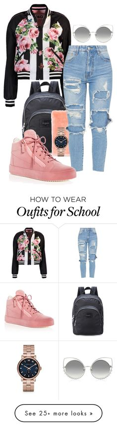 """Mariah School"" by itsmariahi on Polyvore featuring Dolce&Gabbana, Marc Jacobs, Giuseppe Zanotti, Marc by Marc Jacobs, school, 2018 and itsmariahi"