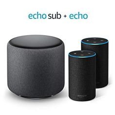 Includes two Echo Gen) devices and one Echo Sub for a room-filling, wireless stereo system. Echo Sub delivers down-firing, deep bass sound through a woofer. Pair with one Echo. Best Amazon, Amazon Deals, Amazon Echo, Amazon Hacks, Alexa App, Alexa Echo, Alexa Device, Alexa Speaker, Echo Devices