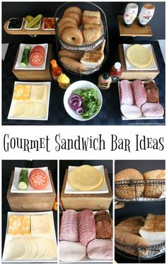 Gourmet Sandwich Bar Ideas - Moms & Munchkins Gourmet Sandwich Bar Ideas - ideas for what to serve in your buffet like meats, cheeses, types of bread, condiments, sides and more. Gourmet Sandwiches, Tea Sandwiches, Breakfast Sandwiches, Sandwich Buffet, Sandwich Station, Sandwich Platter, Sandwich Ideas, Party Food Bars, Snacks Für Party