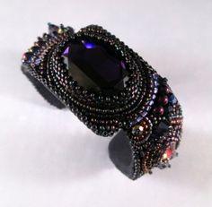 Charmed #beadembroideredcuff #beadwork #beadweaving #jewelry #purple #cuff #bracelet #beadedjewelry