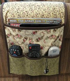Armchair Caddy Bedside Caddy Remote holder by MiniMade on Etsy Remote Caddy, Remote Control Holder, Sewing Hacks, Sewing Crafts, Sewing Projects, Bedside Caddy, Sewing Caddy, Craft Stalls, Pocket Pattern