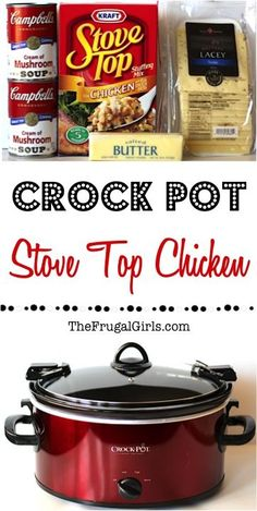 Crockpot Stove Top Chicken Recipe From This Easy Crock Pot Dinner Is Comfort Food To The Max, And Guaranteed To Be A New Family Favorite Crock Pot Slow Cooker, Crock Pot Cooking, Slow Cooker Recipes, Crockpot Recipes, Cooking Recipes, Quick Recipes, Yummy Recipes, Stuffing Casserole, Stuffing Recipes