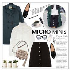 """Micro Mini Skirt"" by little-curly-juli ❤ liked on Polyvore featuring Alberta Ferretti, Warehouse, Tory Burch, Maison Margiela, Illesteva, Nixon, Roads and microminis"