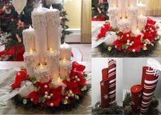 http://artesanatobrasil.net/como-fazer-velas-decorativas-de-natal-com-rolo-de-papel/ Velas decorativas de natal feitas de rolos de papel.