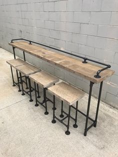 """Rustic Gray Reclaimed Barn Wood Sofa Bar Table - 8 Foot-- Determine more info on """"bistro furniture"""". Visit our website. Wood Bar Table, Pipe Table, Wood Bar Stools, Bar Tables, Table Stools, Bar Table Design, Bar Furniture, Outdoor Furniture, Furniture Design"""
