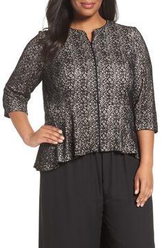 Plus Size Women's Alex Evenings High/low Lace Zip Front Jacket