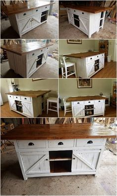 Pallet Kitchen Island Table or Cabinet with Sliding Doors