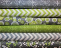 6 Fat Quarters Simply Color Chevron, Leaves, Floral  by V and Co  Moda Designer Fabrics