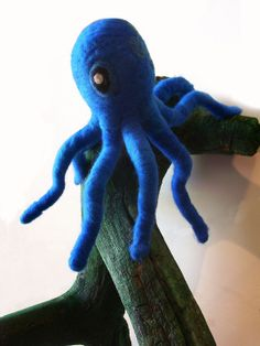 Needle Felted Octopus on Painted Tree Branch Nautical by kmwatkins, $100.00