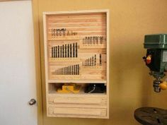 how to make a drill press storage cabinet