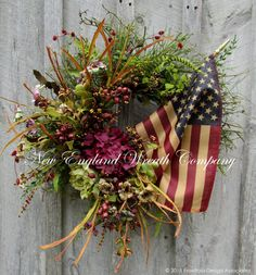 Patriotic Wreath Americana Wreath 4th of July by NewEnglandWreath
