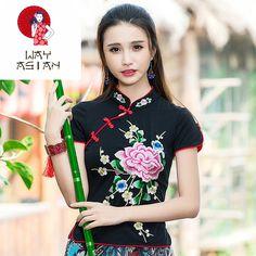 Asian Chinese Vietnamese Women's Silk Blouse Shirt Long Sleeve White with Flower