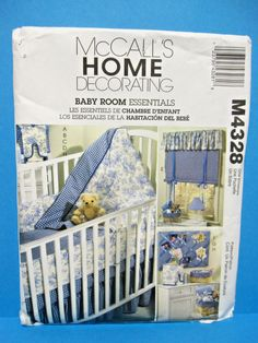 McCALL'S sewing pattern #4328 BABY ROOM Crib Quilt/Sheet/Skirt/Bumper++ uncut #McCall
