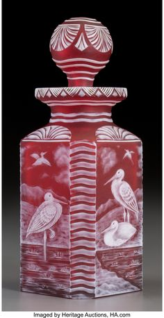White Overlay Red Glass Crane Scent Bottle Probably made for Stevens & Williams Glass Co. Decorated by John Orchard Circa Engraved Executed by W. Crystal Perfume Bottles, Vintage Perfume Bottles, Art Of Glass, Red Glass, American Indian Art, Bottle Design, Overlays, Steven Williams, British