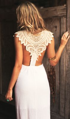 Boho lace back dress