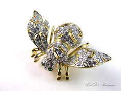 Signed JOAN RIVERS Limited Edition Crystal Clear Dazzling Bee Pin Brooch