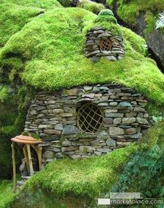 """""""Emerald Mossy House"""" by Sally J. I want to live in a hobbit house. OMG i'd love to live in a hobbit house! Hobbit Hole, The Hobbit, Hobbit Land, Casa Dos Hobbits, Unusual Homes, Fairy Houses, Cob Houses, Garden Houses, Garden Sheds"""