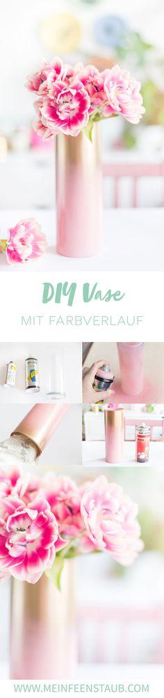 Kreative DIY-Idee zum Selbermachen: DIY Vase mit Farbverlauf von Rosa zu Gold als einfaches DIY Deko Upcycling Projekt