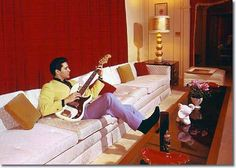 Elvis and Priscilla Presley 1965 | Elvis Relaxing In The Living Room