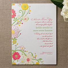 Love this cheery spring letterpress wedding invitation