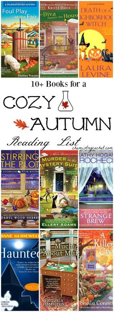 This fun cozy autumn reading list is full of mystery, intrigue and beautiful scenery. Great books to spark autumn or Halloween inspiration! Best Mystery Books, Best Mysteries, Cozy Mysteries, Murder Mysteries, I Love Books, Great Books, Books To Read, Books For Fall, Thriller