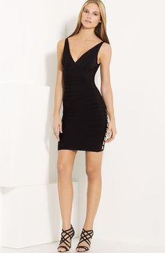 Herve Leger V Neck Side Detail Bandage Dress V Neck Dress 90965e720