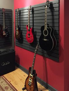 Guitar hanging system used in home for guitar storage and display