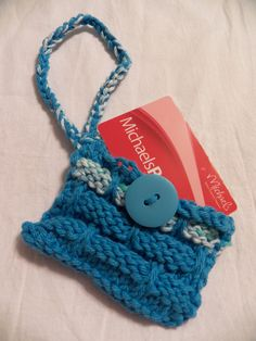 Hand-Knit Card Keeper Wristlet by LessBtchMoreStitch on Etsy
