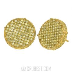 .925 STERLING SILVER 14K GOLD FINISH MICRO PAVE YELLOW CZ 14 MM ROUND EARRING