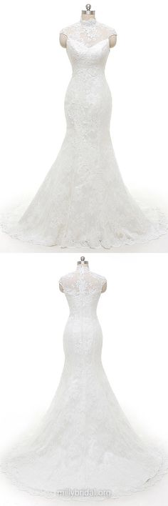Mermaid Wedding Dresses, High Neck Lace Wedding Dresses, Famous Wedding Dresses, Wedding Dresses 2018, Affordable Wedding Dresses