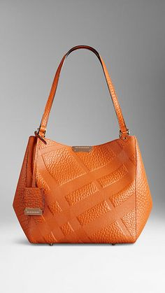 Copper orange The Small Canter in Embossed Check Leather - Image 2