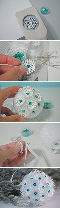 Paper Punch Snowflake Christmas Ornament.