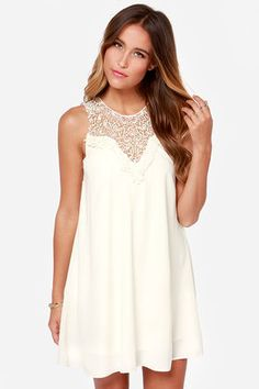 Sleeveless Dress - Cream Dress - Slip Dress - $38.00 . Follow me for more cute fashion idea @oliviabbradley ✿