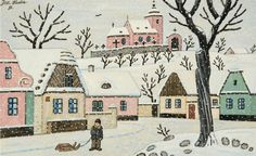 Most of Josef Lada's holiday themed artworks depict charming Czech villages in the midst of winter, snowcapped and calm. Characterized by pastel cottages, Czech villagers, and small smoking chimneys, these works evoke a feeling of warmth and nostalgia. Winter Wonderland, Illustrators, Christmas Cards, Nostalgia, Illustration Art, Pastel, Cold, Retro, Painters
